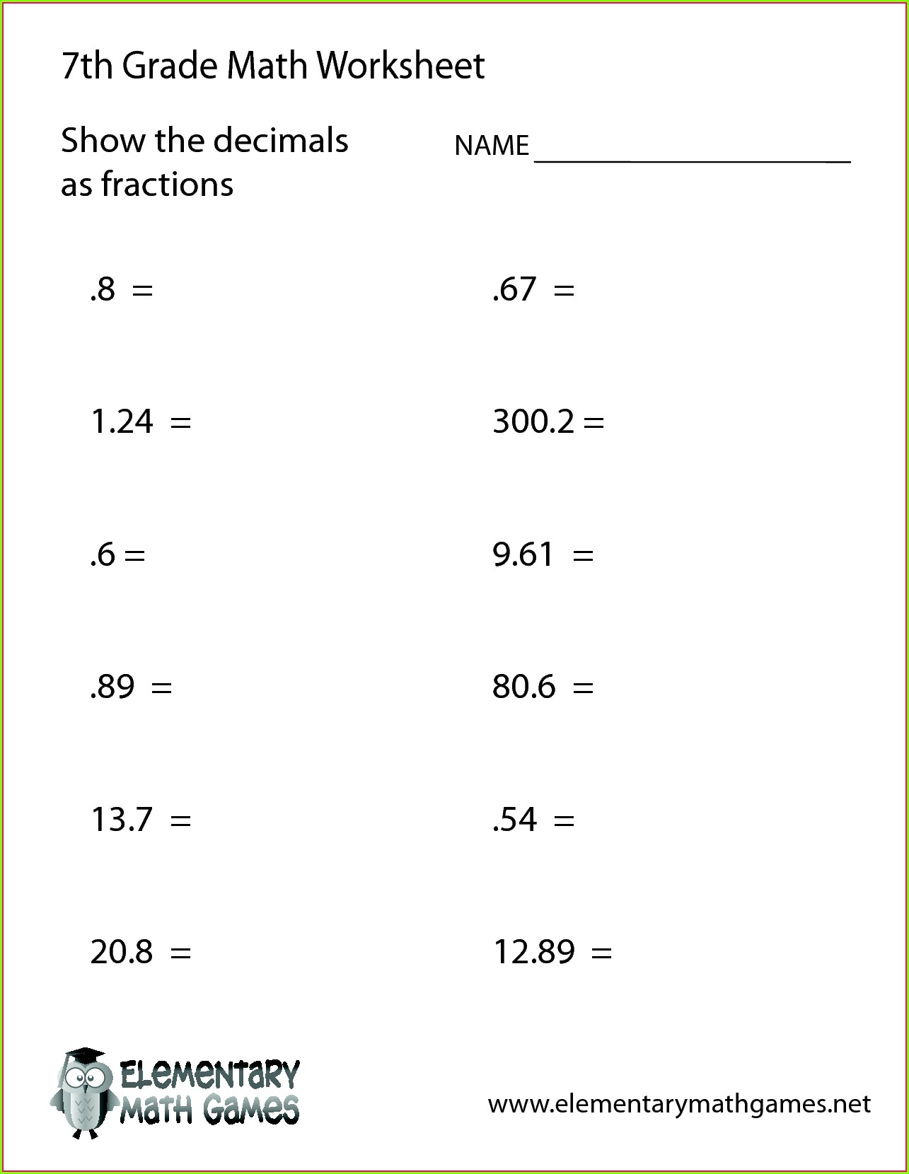 Math Worksheet For Grade 7