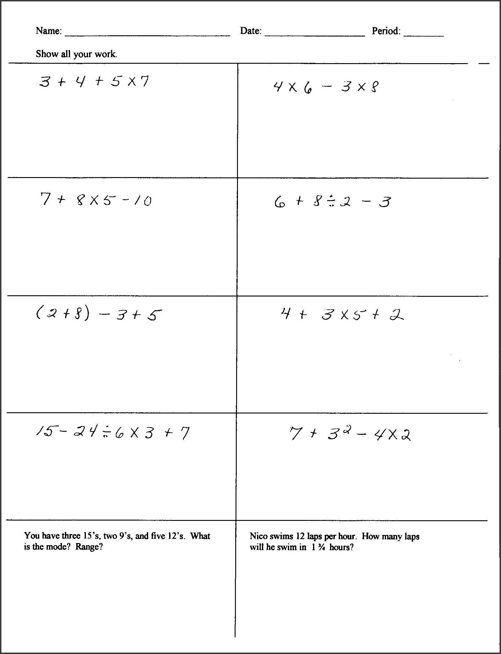 Math Worksheet For Grade Six