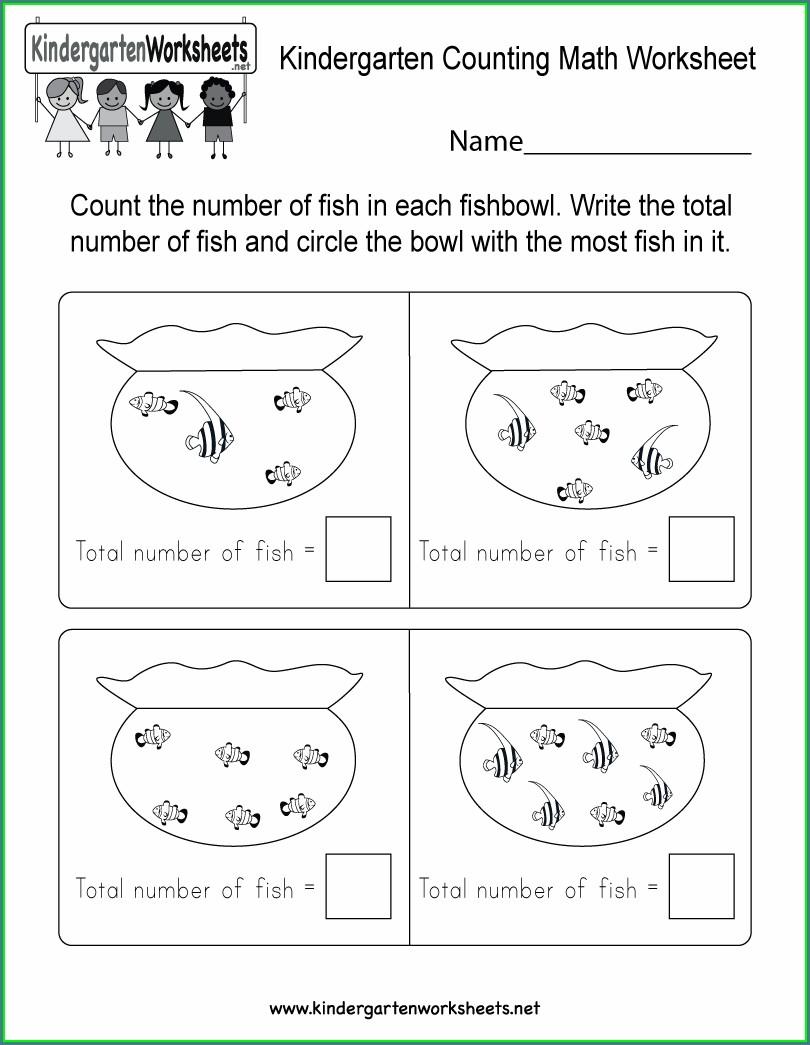 Math Worksheet For Kindergarten Counting