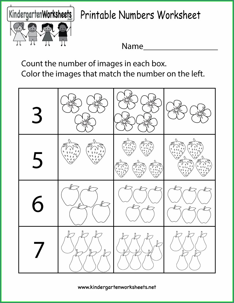 Math Worksheet For Kindergarten Printable