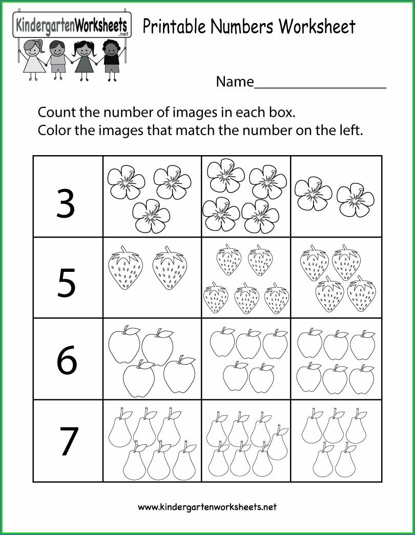 Math Worksheet For Kindergarten Printable