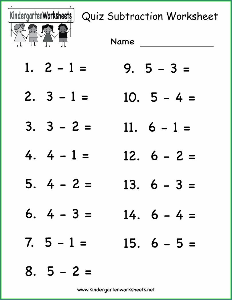 Math Worksheet For Kindergarten Subtraction