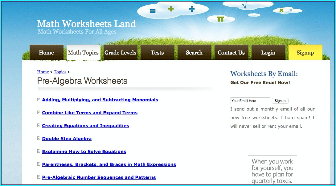 Math Worksheet Land Grade 7