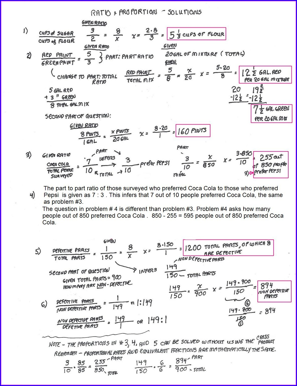 Math Worksheet Ratio And Proportion
