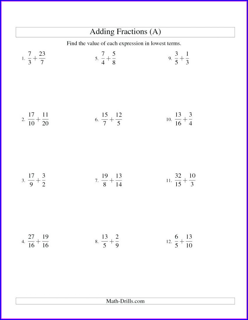 Math Worksheets Adding And Subtracting Fractions With Unlike Denominators