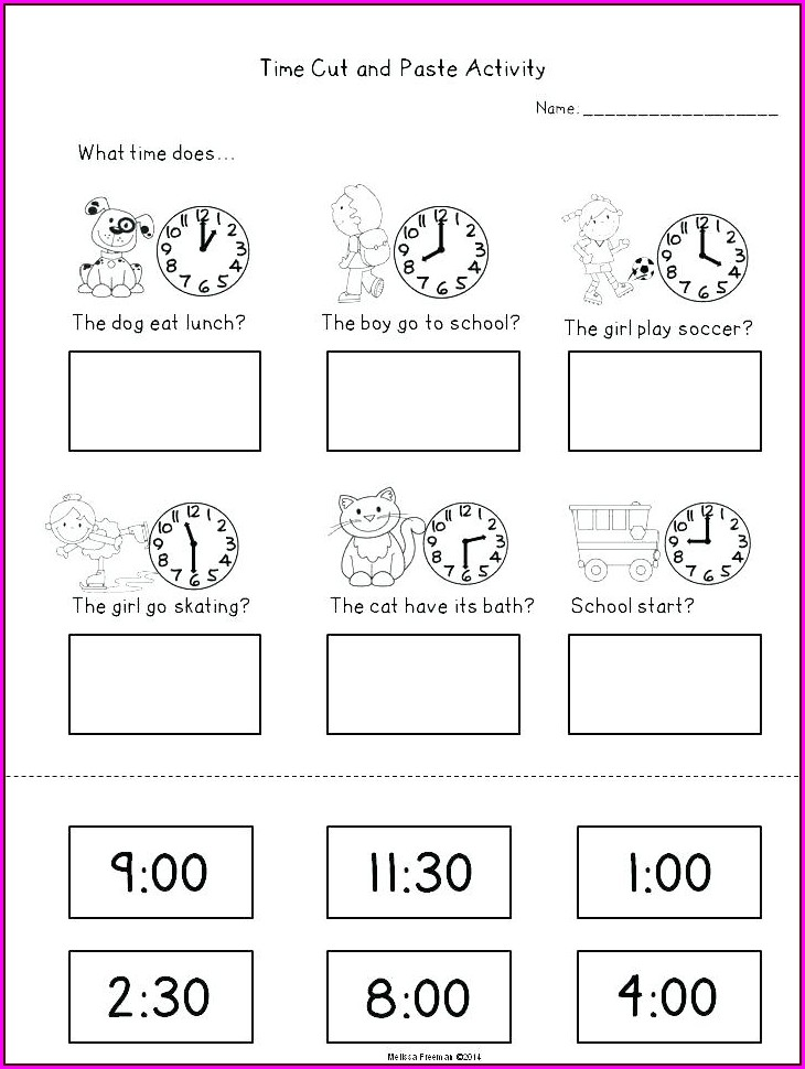 Math Worksheets For Grade 1 Telling Time