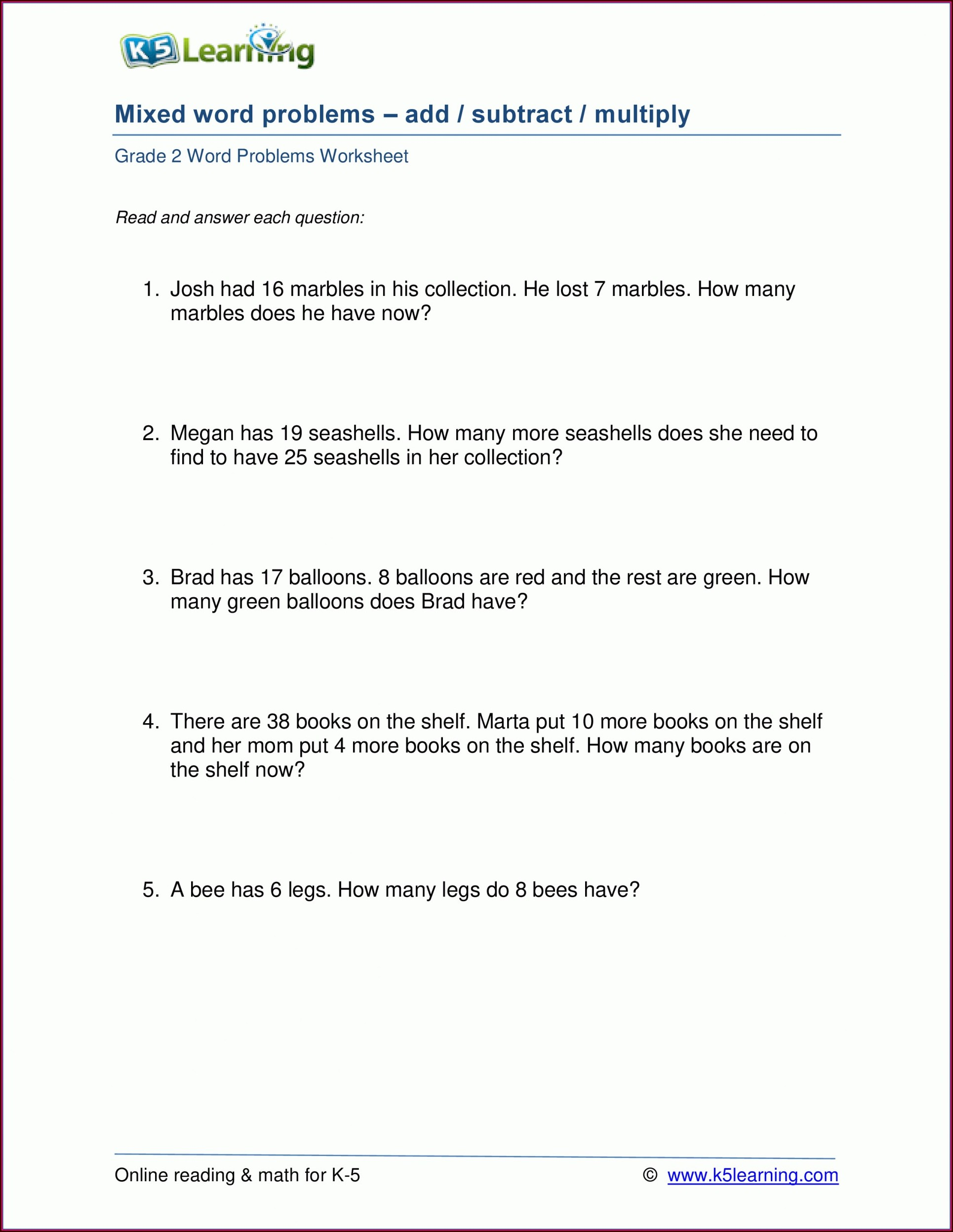 Math Worksheets For Grade 2 Multiplication Word Problems