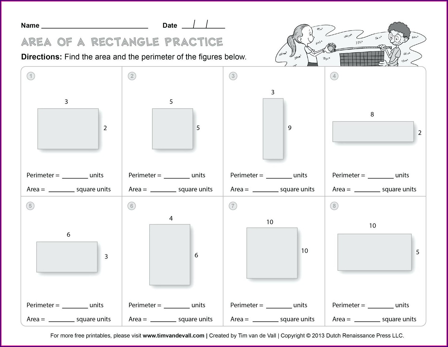 Math Worksheets For Grade 5 Area And Perimeter Word Problems