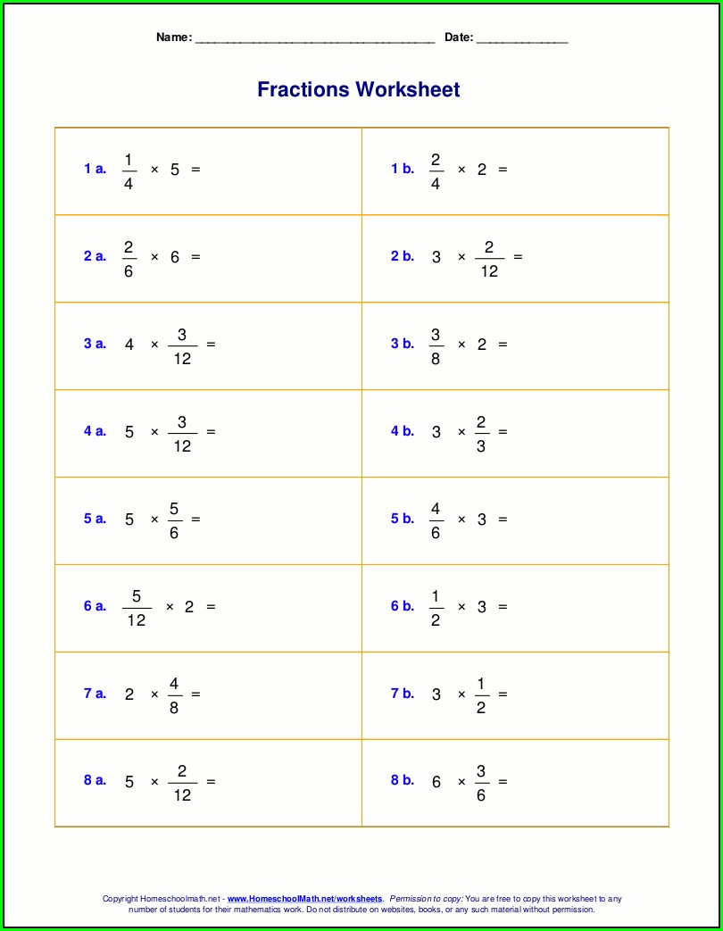 Math Worksheets For Grade 5 Multiplying Fractions
