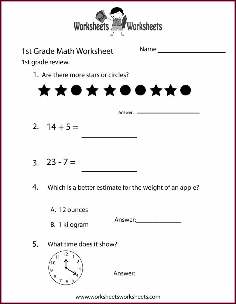 Math Worksheets Grade 1 Word Problems