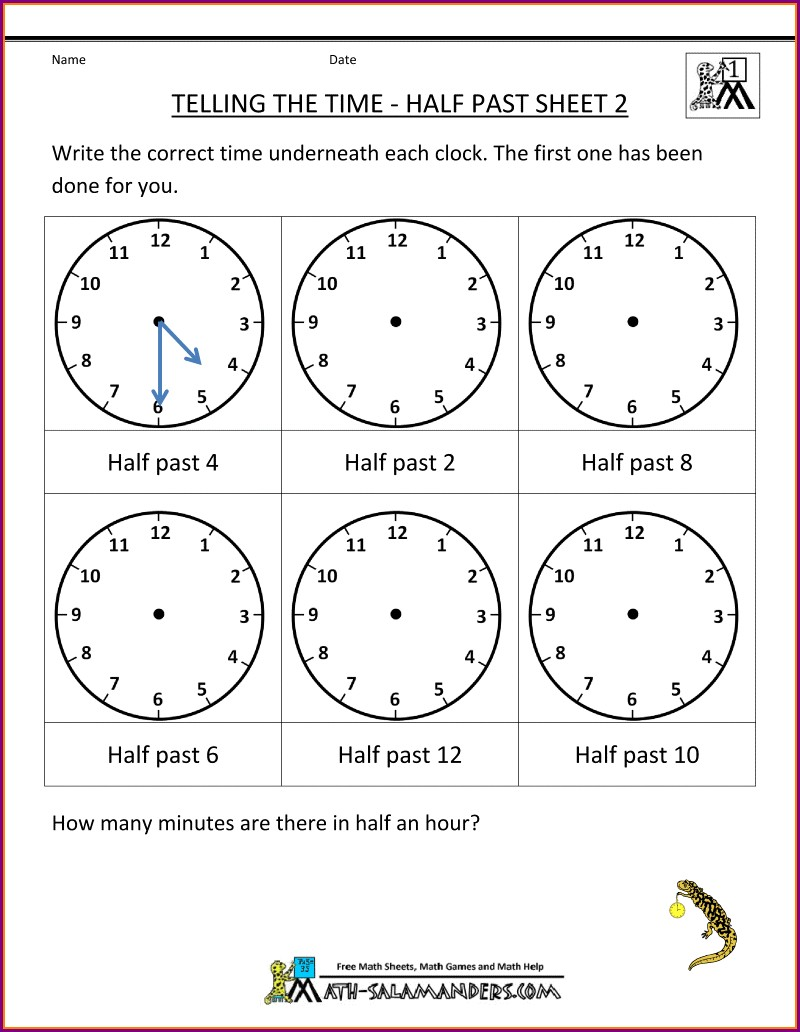 Math Worksheets Grade 2 Telling Time