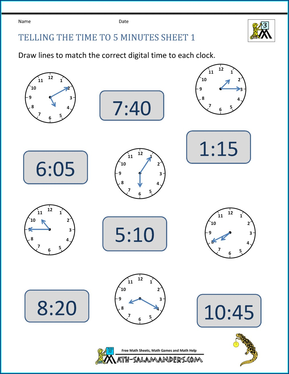 Math Worksheets On Time For Grade 5
