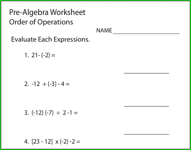 Math Worksheets Order Of Operations With Variables