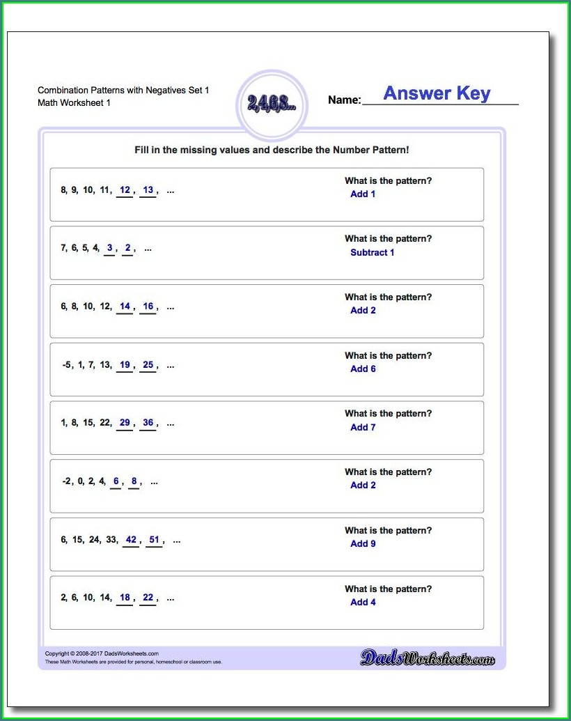 Math Worksheets With Number Patterns