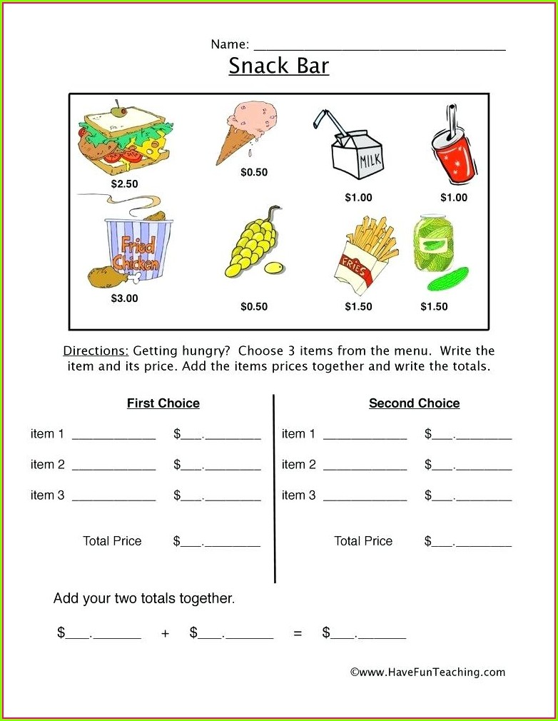 Menu Math Word Problems Worksheet
