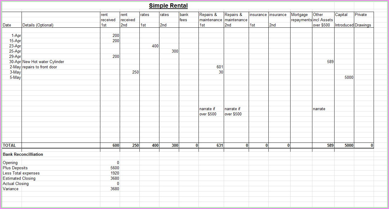 Microsoft Excel Templates For Bookkeeping
