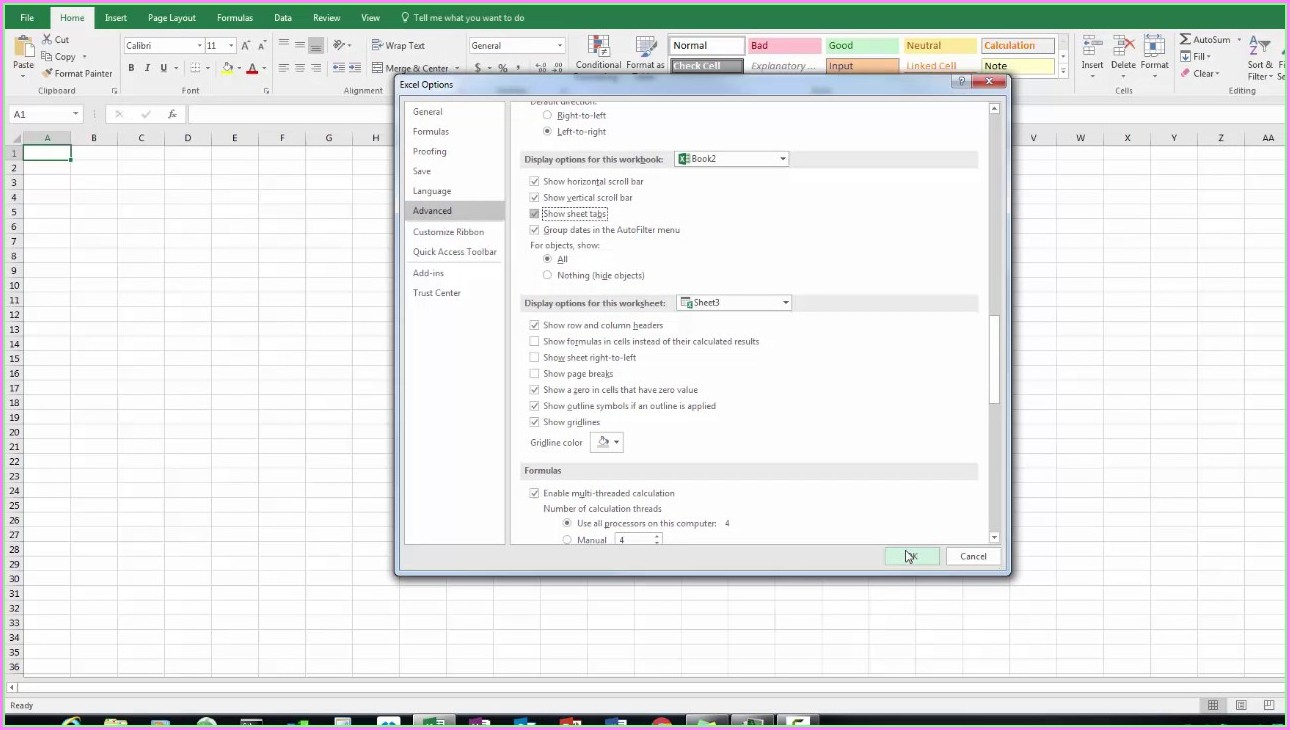 Microsoft Excel Worksheet Tabs Disappeared