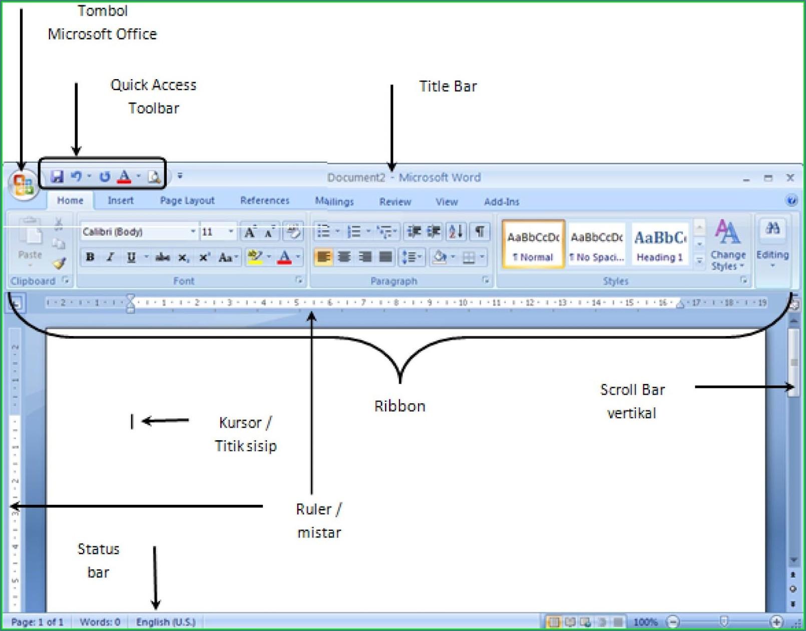 Microsoft Word 2010 Home Ribbon Worksheet