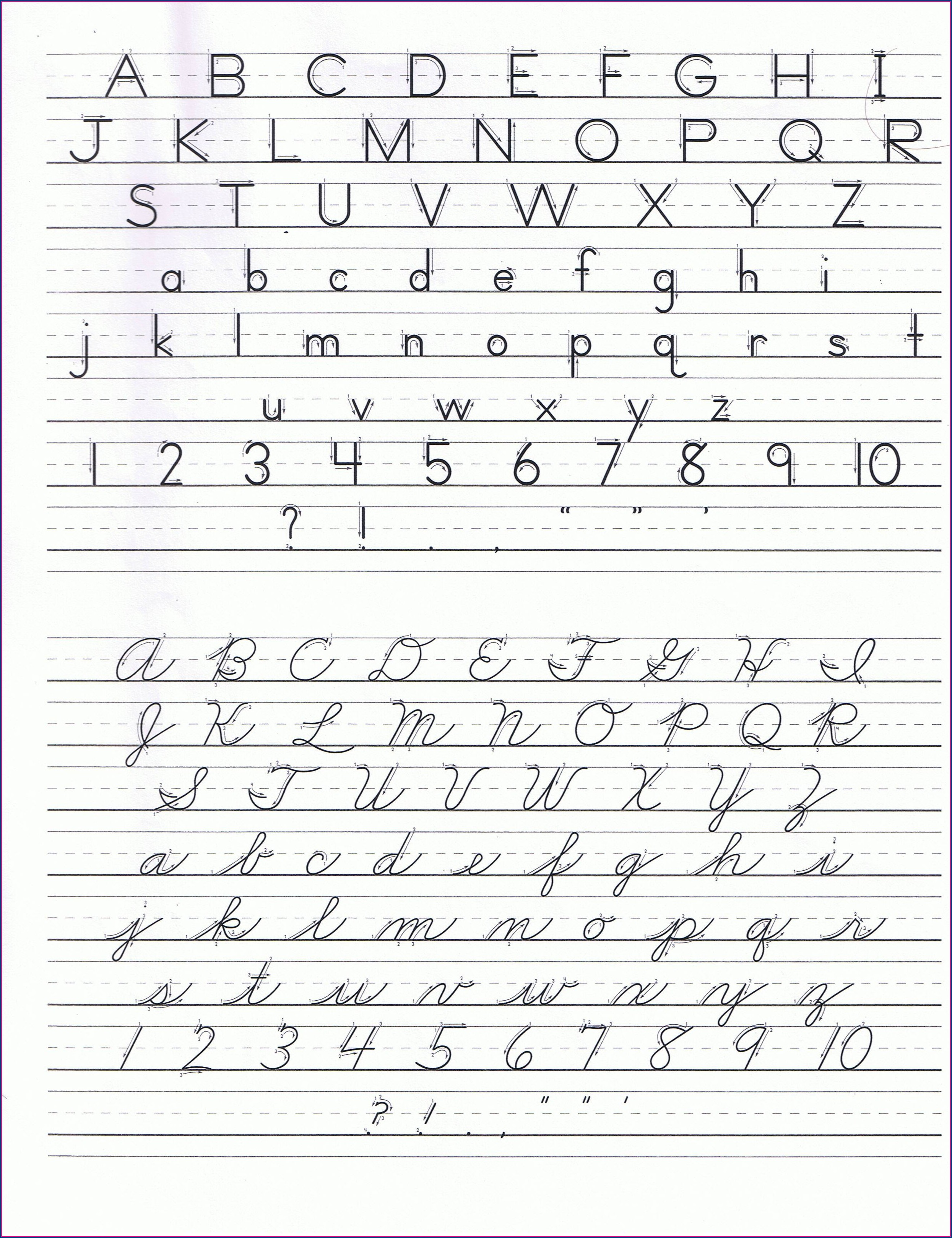 Middle School Cursive Writing Worksheets