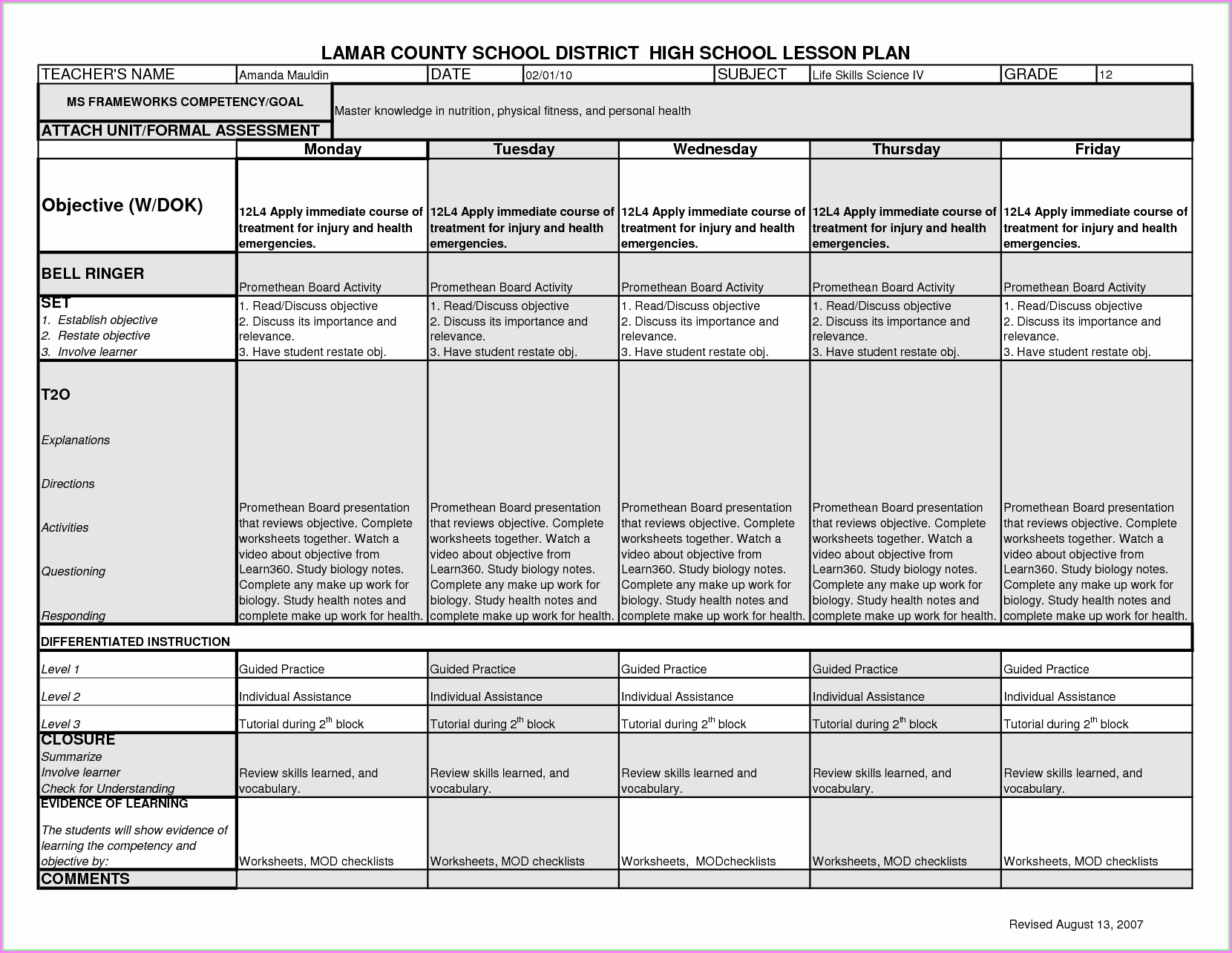 Middle School Free Printable Nutrition Worksheets