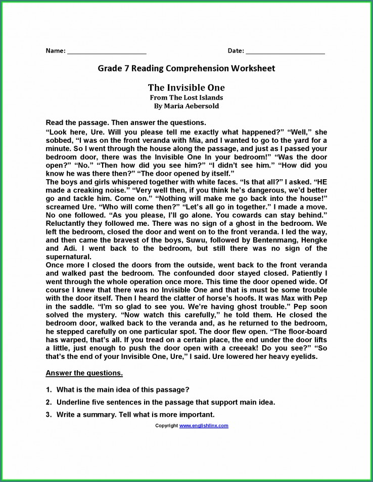 Middle School Grade 7 Reading Comprehension Worksheets Pdf