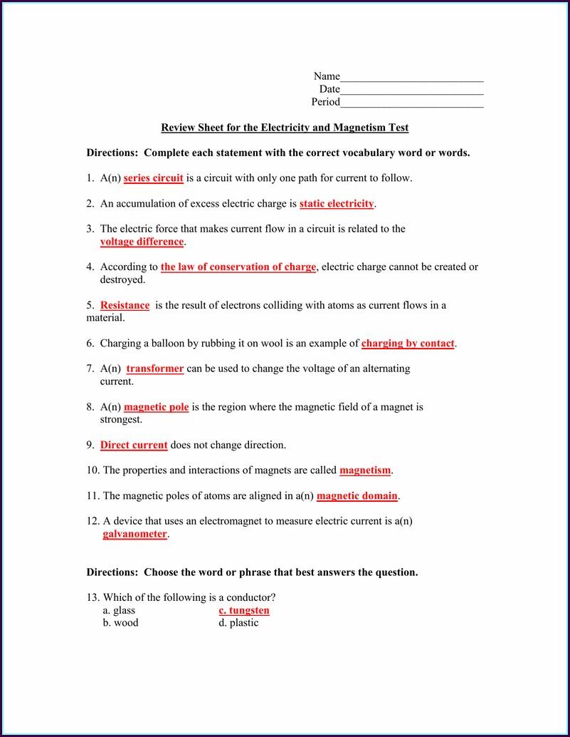 Middle School Magnetism Worksheet Answer Key