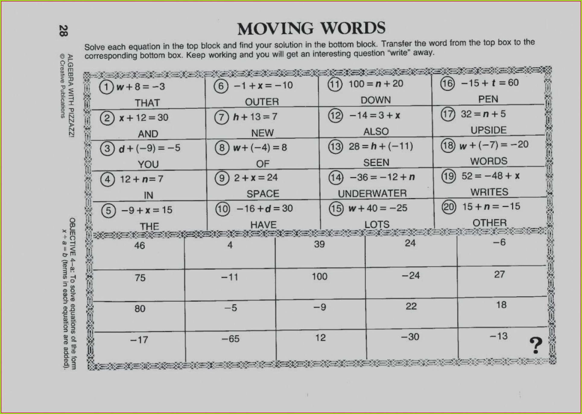 Middle School Math Worksheets With Answers