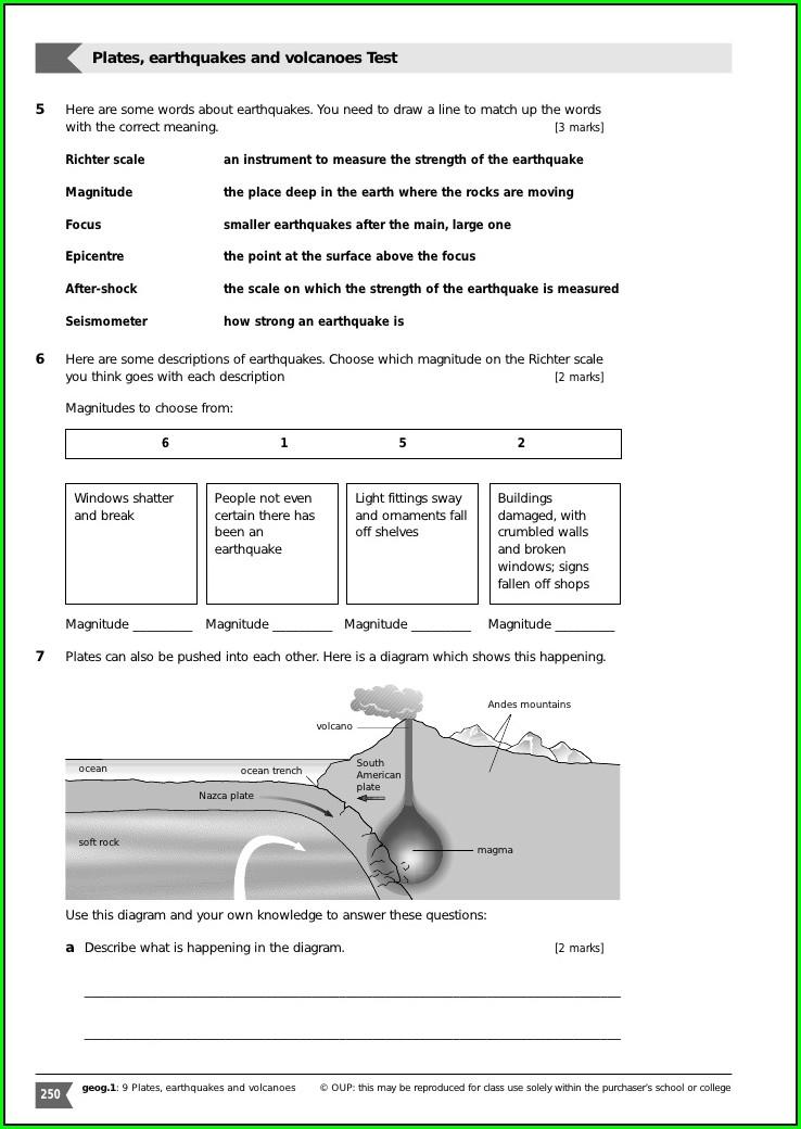 Middle School Plate Boundaries Worksheet Answers