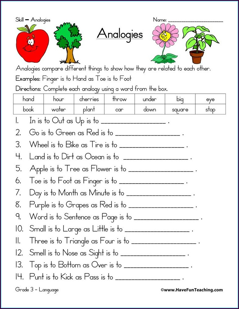 Middle School Verbal Analogies Worksheet
