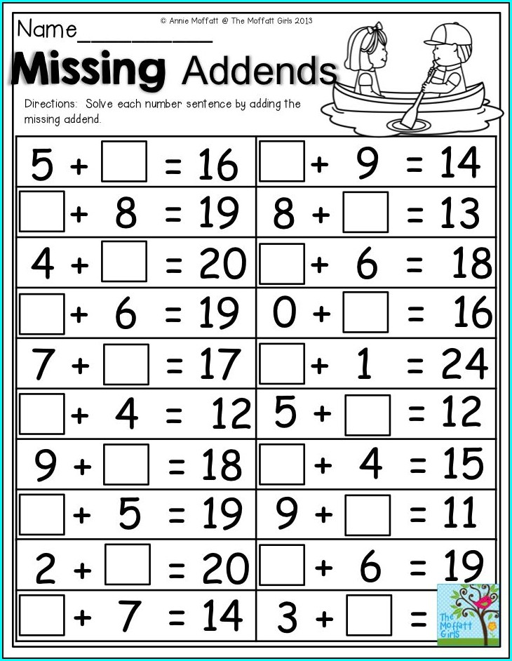 Missing Addends Printable Worksheets