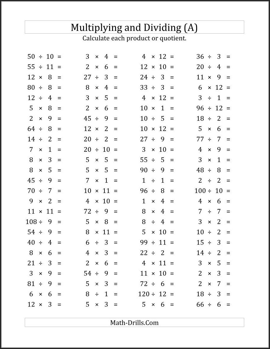 Mixed Multiplication Worksheets Up To 12