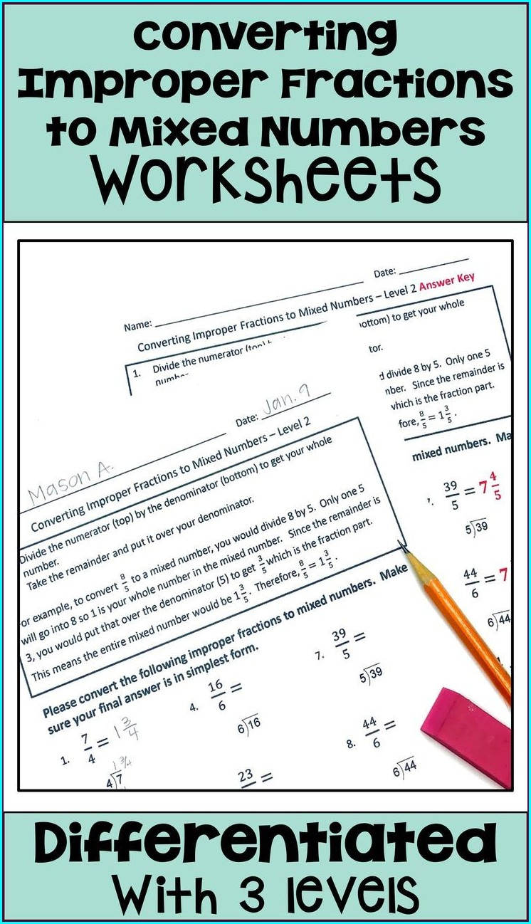 Mixed Numbers Math Worksheets