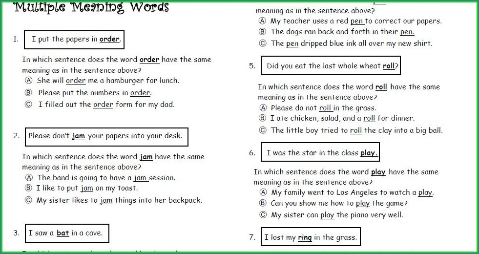 Multiple Meaning Words Worksheet For 8th Grade