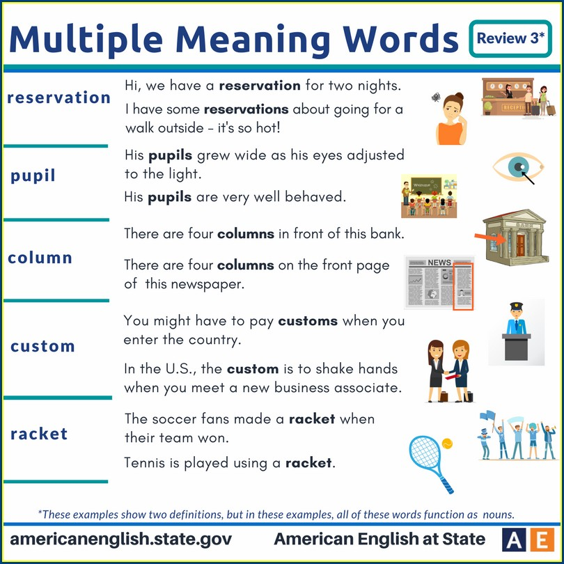Multiple Meaning Words Worksheets Middle School