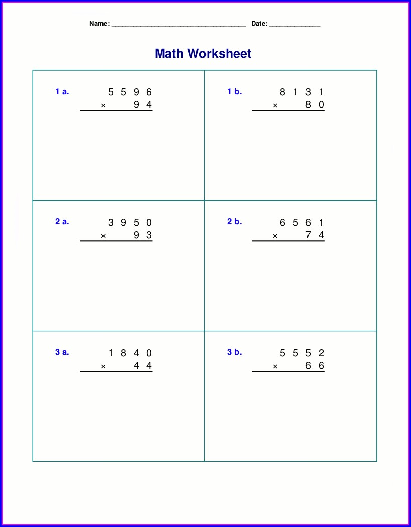 Multiplication 4th Grade Math Worksheets Pdf