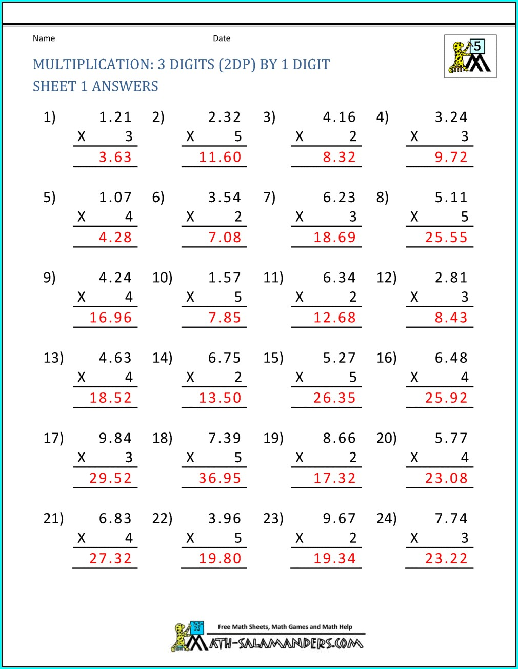 Multiplication 5th Grade Math Worksheets Pdf