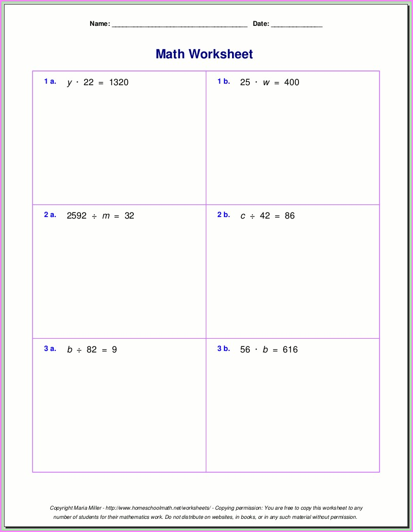Multiplication And Division Worksheet Grade 5