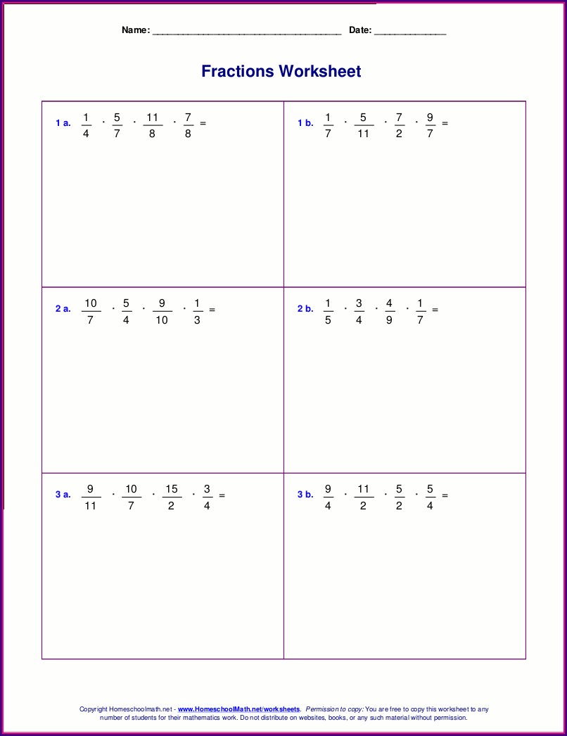 Multiplication Math Worksheets For Grade 6 Fractions