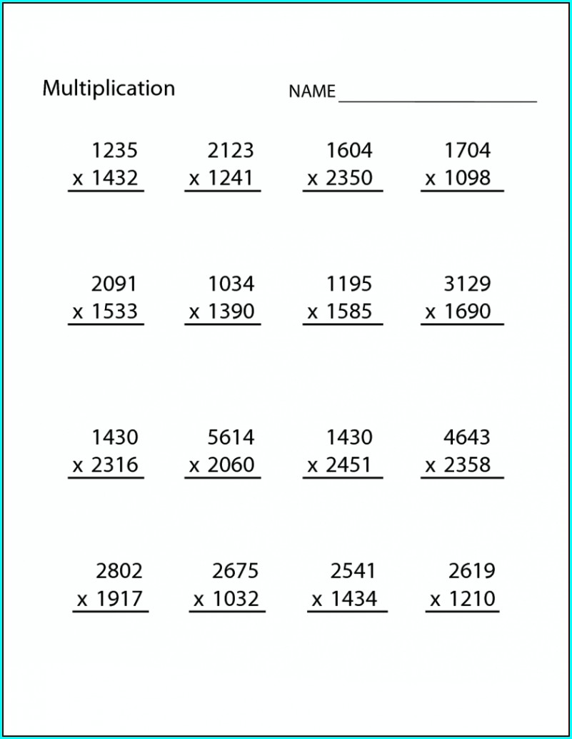 Multiplication Math Worksheets Grade 5