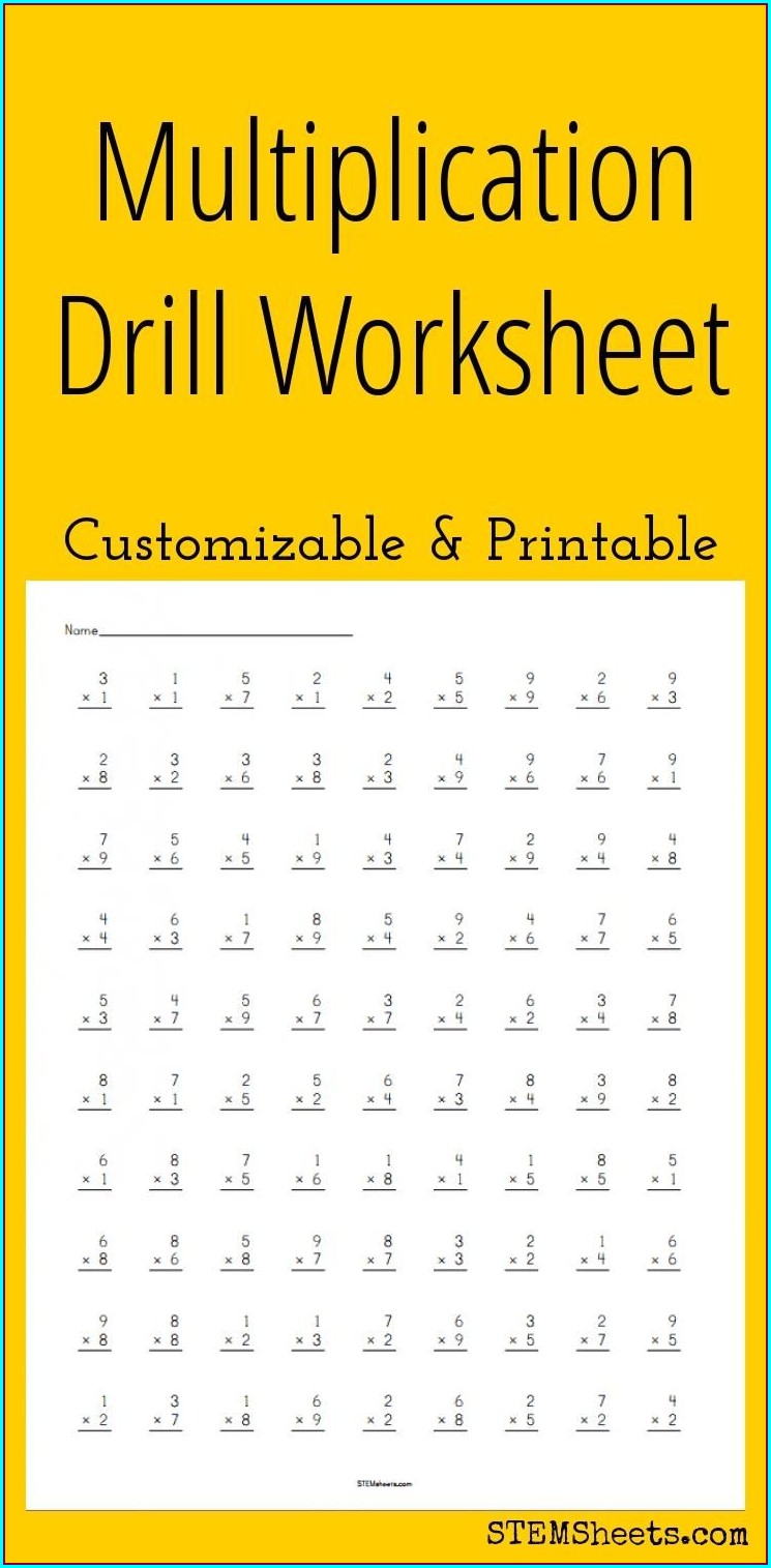 Multiplication Worksheet High School