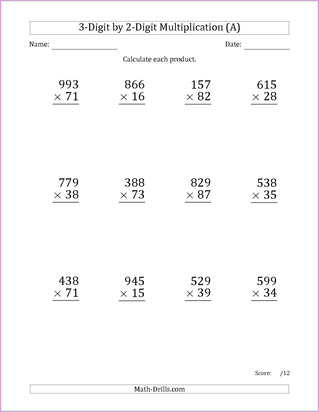 Multiplication Worksheet One Digit By Two Digits