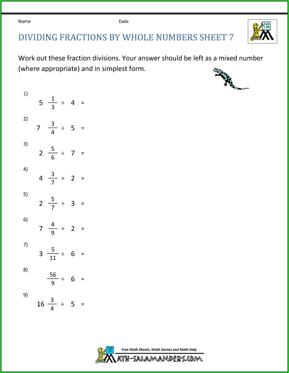 Multiplying And Dividing Whole Numbers Worksheet Pdf