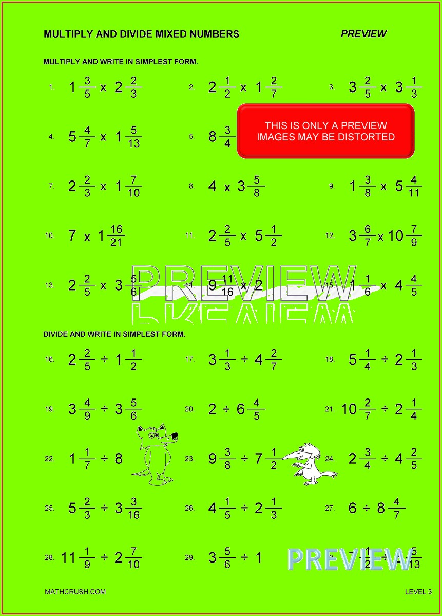 Multiplying Fractions And Mixed Numbers Worksheet Kuta