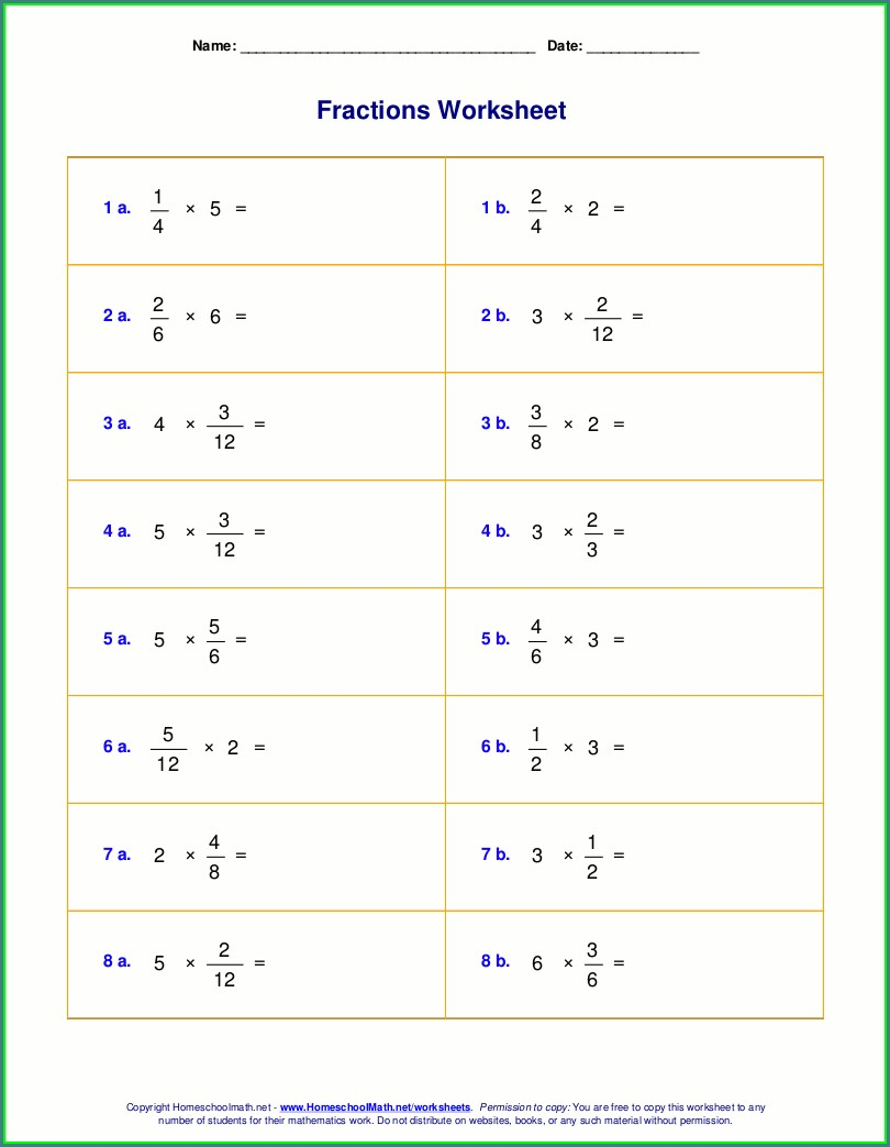 Multiplying Fractions By Whole Numbers Worksheet Answer Key