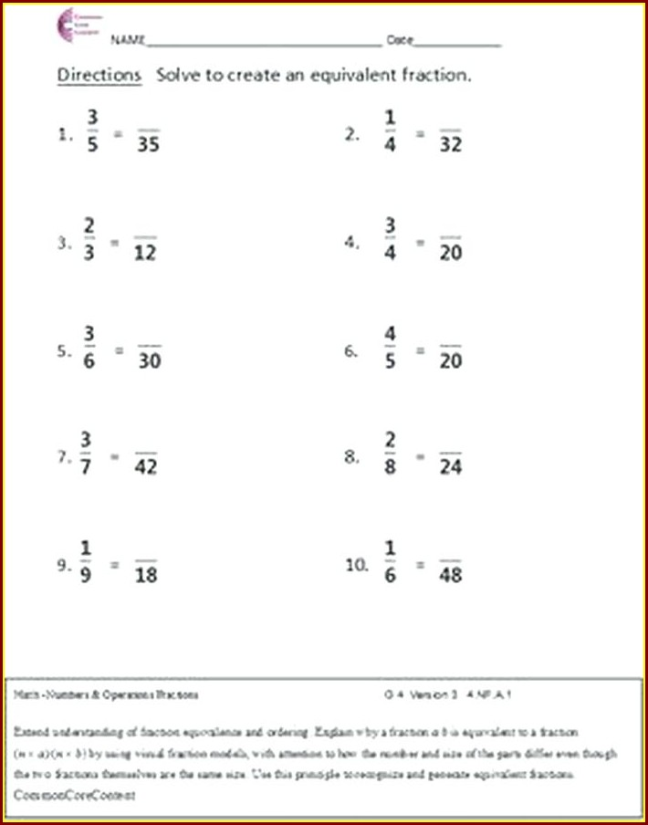 Multiplying Fractions By Whole Numbers Worksheet Common Core