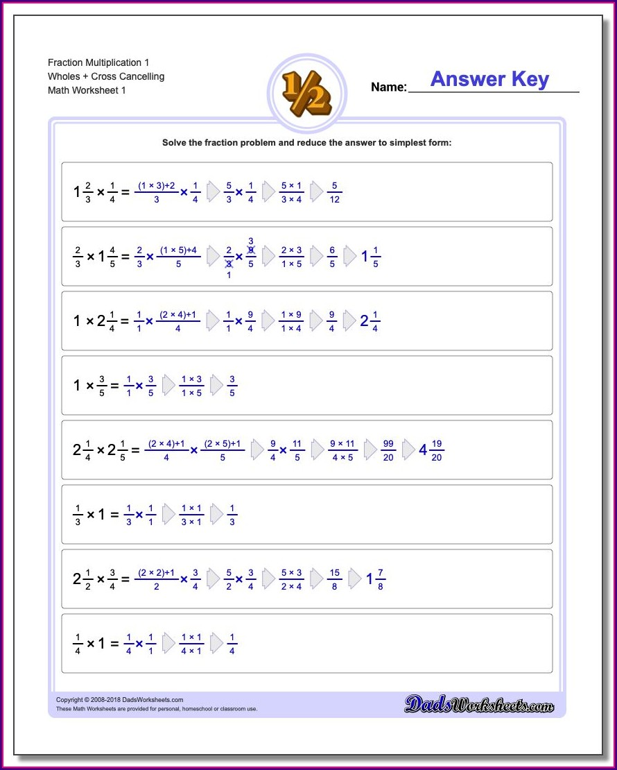 Multiplying Fractions With Whole Numbers Worksheets Pdf