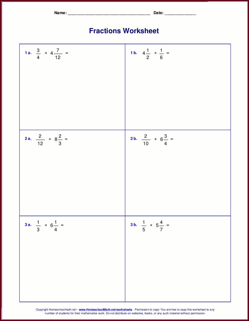 Multiplying Mixed Numbers Area Model Worksheet