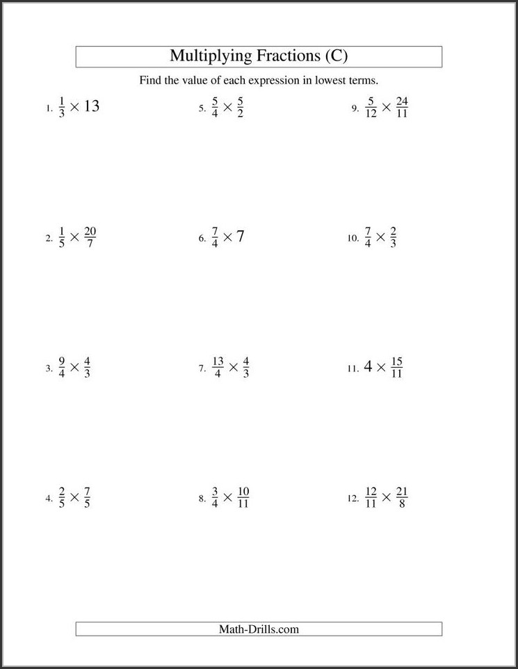 Multiplying Whole Numbers And Fractions Worksheet