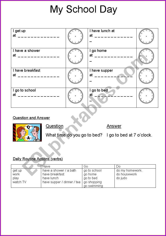 My School Day Worksheet