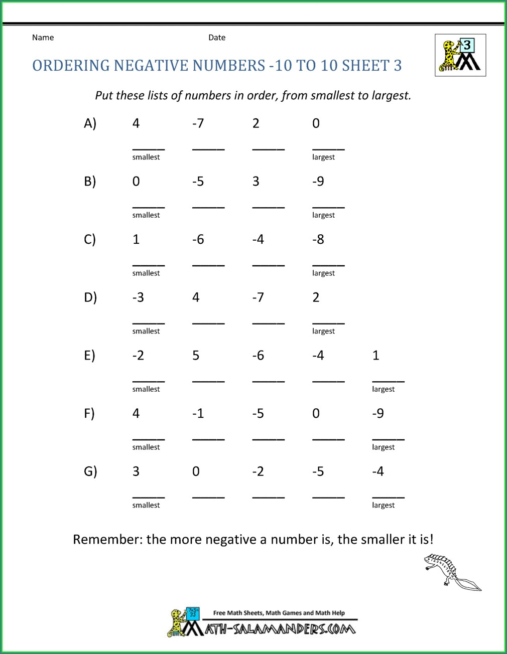 Negative Number Worksheet Gcse